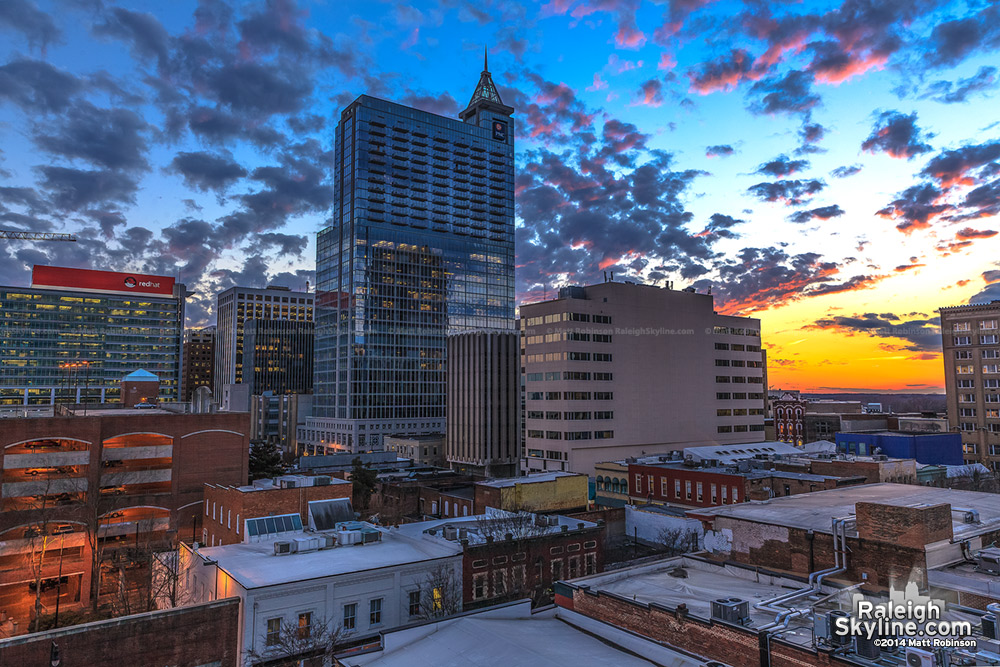 Colorful Sunset over PNC Plaza in Raleigh - January 27, 2014