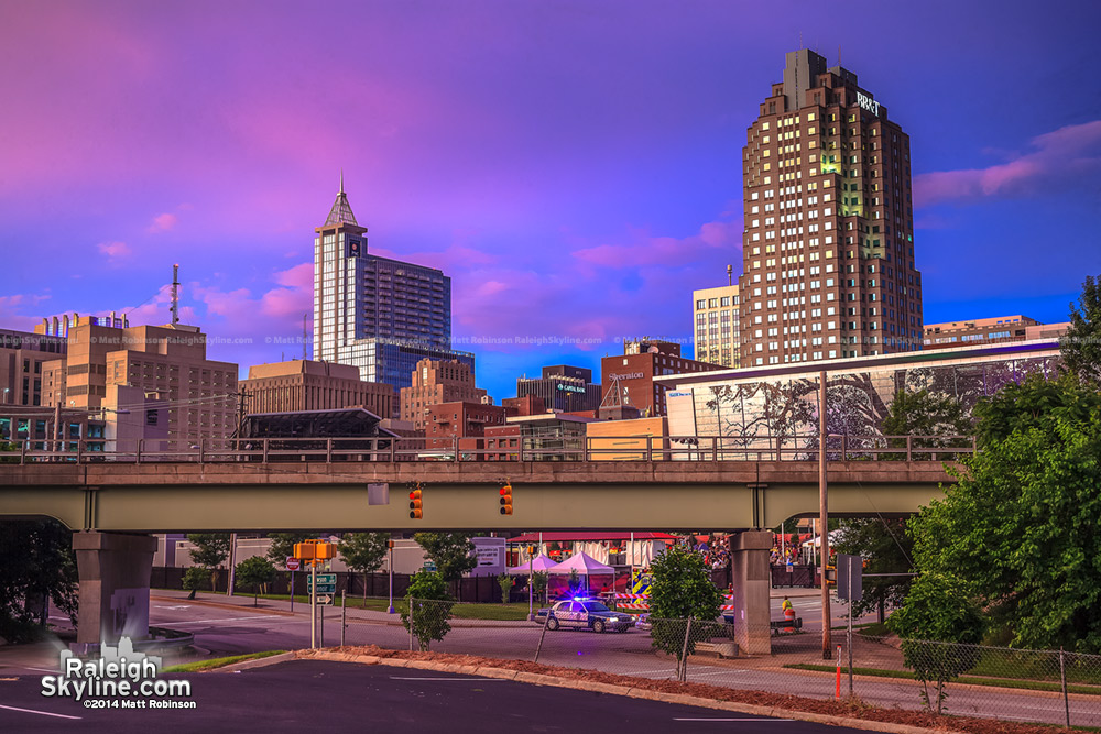Pink sunset over Raleigh - June 23, 2013