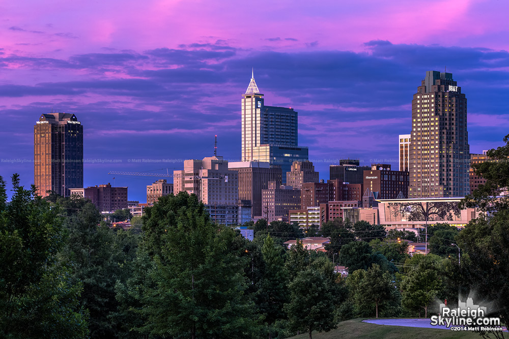 Pink and purple sunset over Raleigh from Dix Hill - August 22, 2008