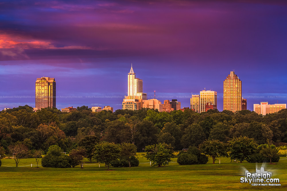 Dramatic sunset over Raleigh with reflections - September 18, 2012