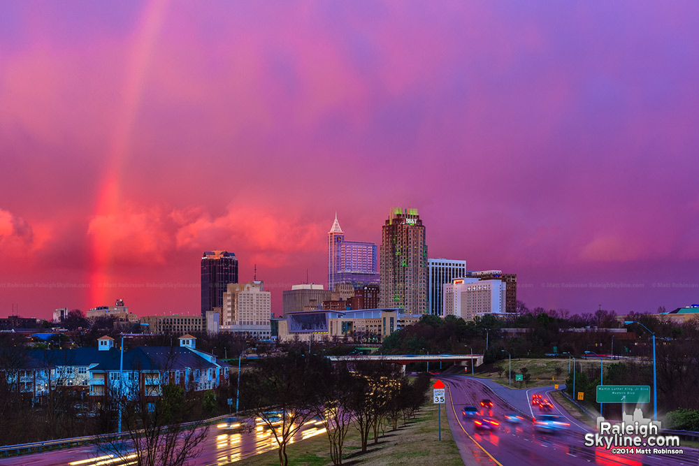 Rare rainbow from South Saunders Street with Pink Sunset and Raleigh - January 7, 2009