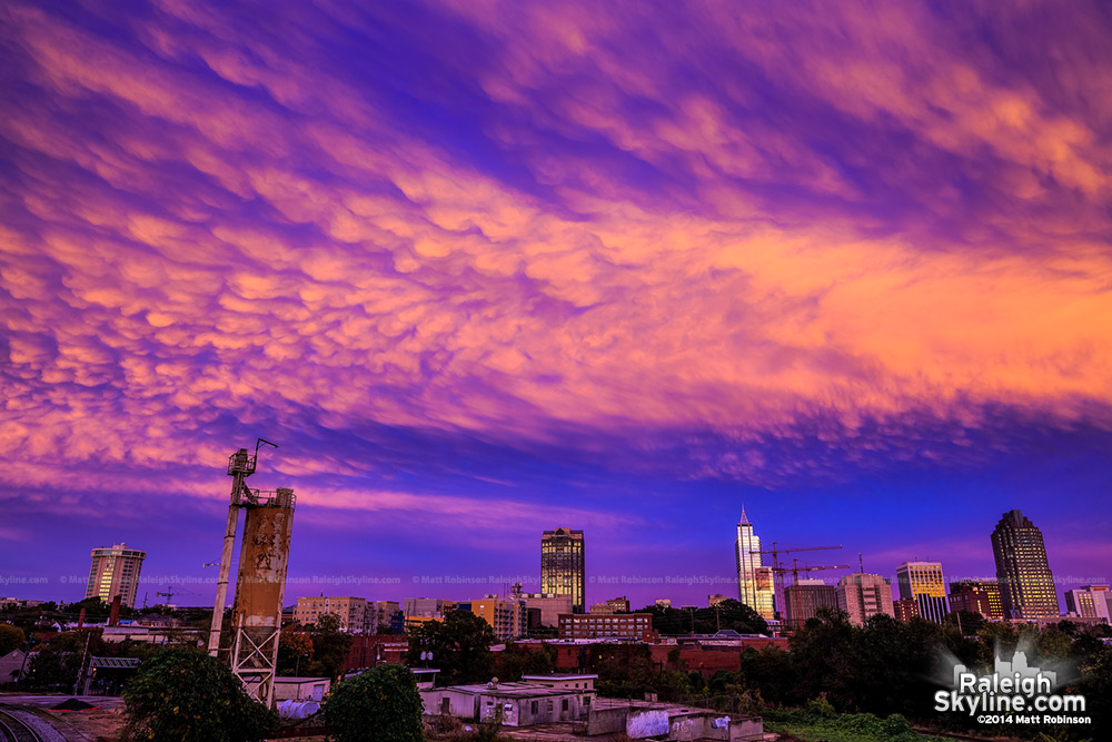 Amazing mammatus cloud sunset over downtown Raleigh - October 25, 2010