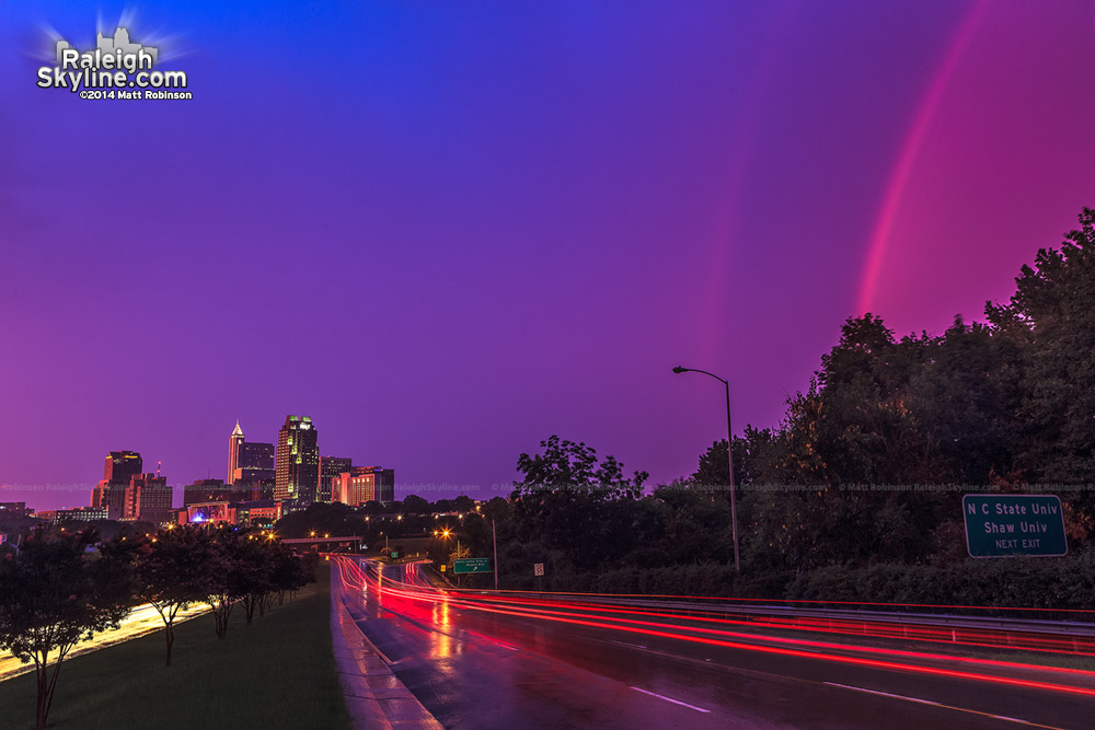 Rainbow with purple sky over Raleigh - July 27, 2012