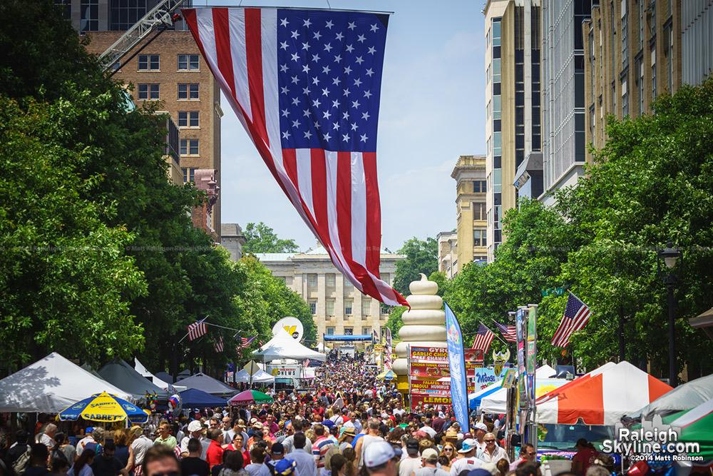 American Flag hangs over Fayetteville Street