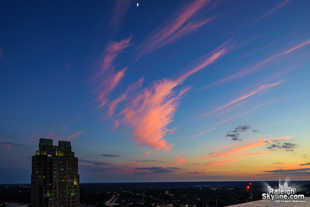 Great sunset over downtown Raleigh