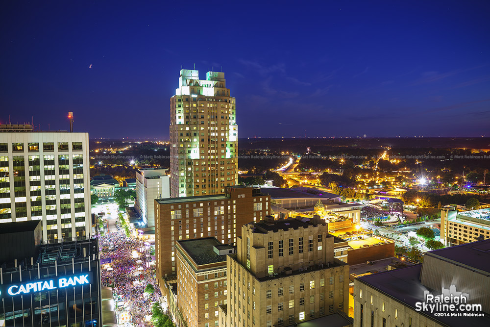 Downtown Raleigh at blue hour before the Fourth fireworks
