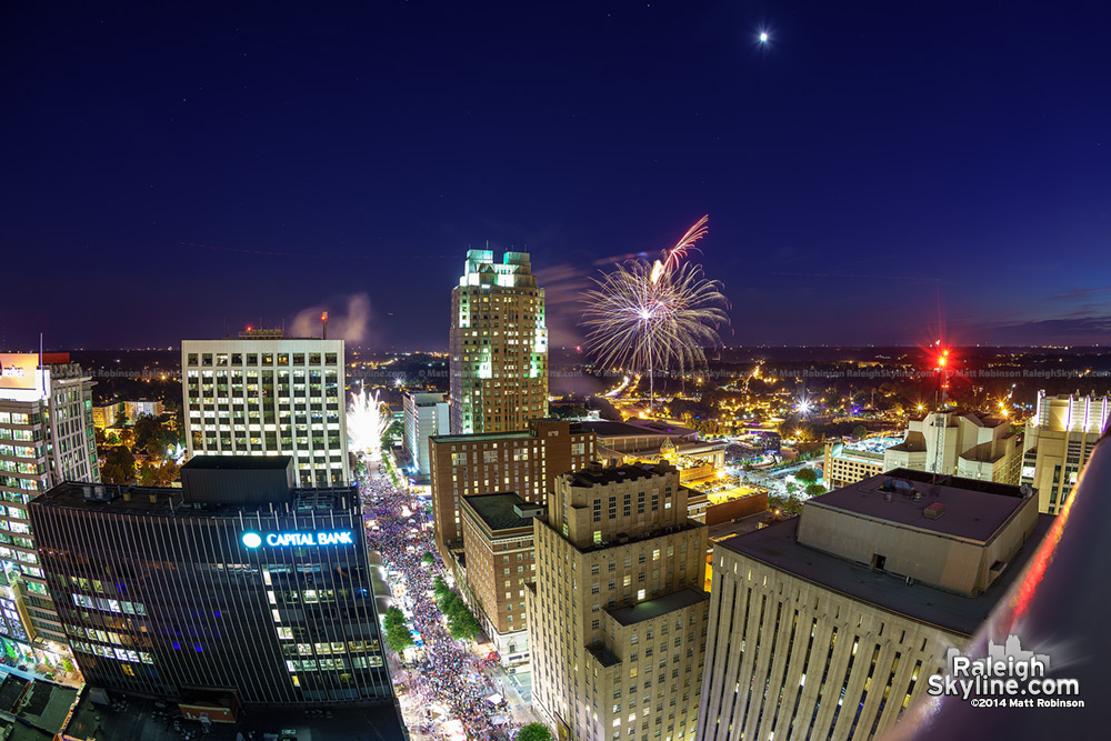 Fireworks over downtown Raleigh as seen from PNC Plaza