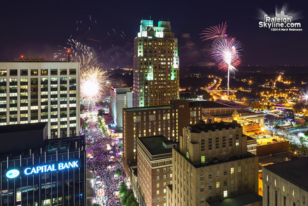 Downtown Raleigh Fireworks 2014
