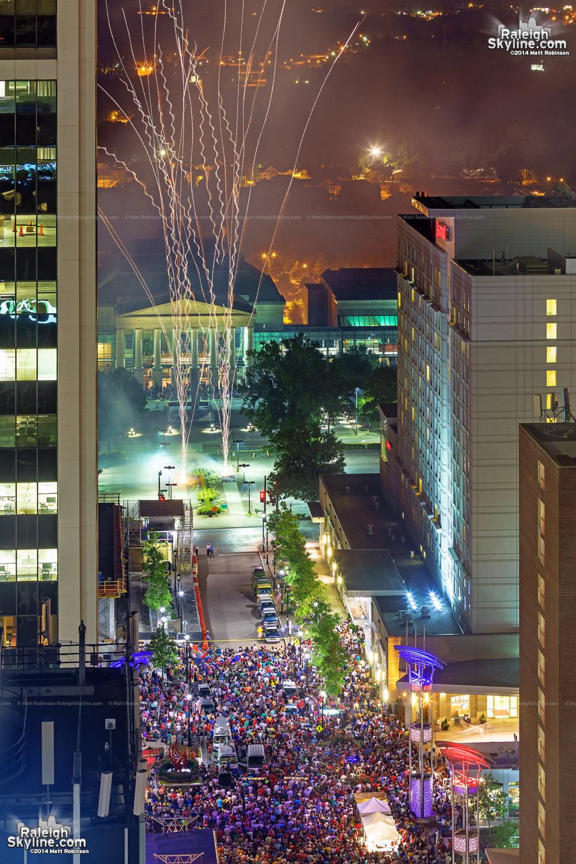 Fireworks over Fayetteville Street