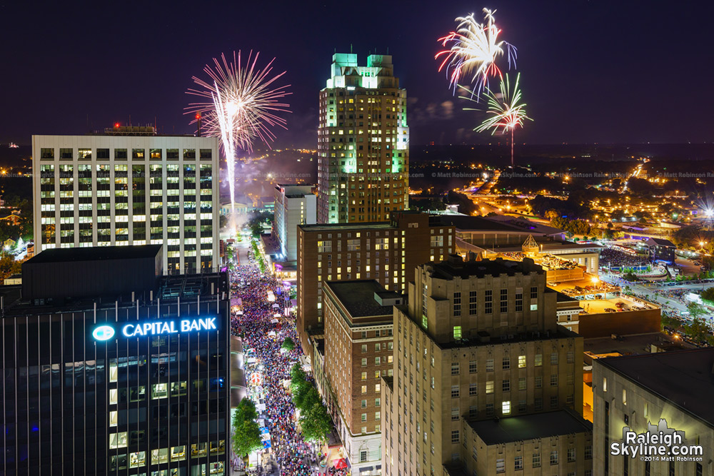 Duel fireworks show in downtown Raleigh