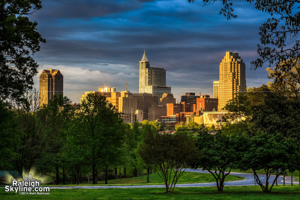 Downtown Raleigh from Dix Hill with sun glinting