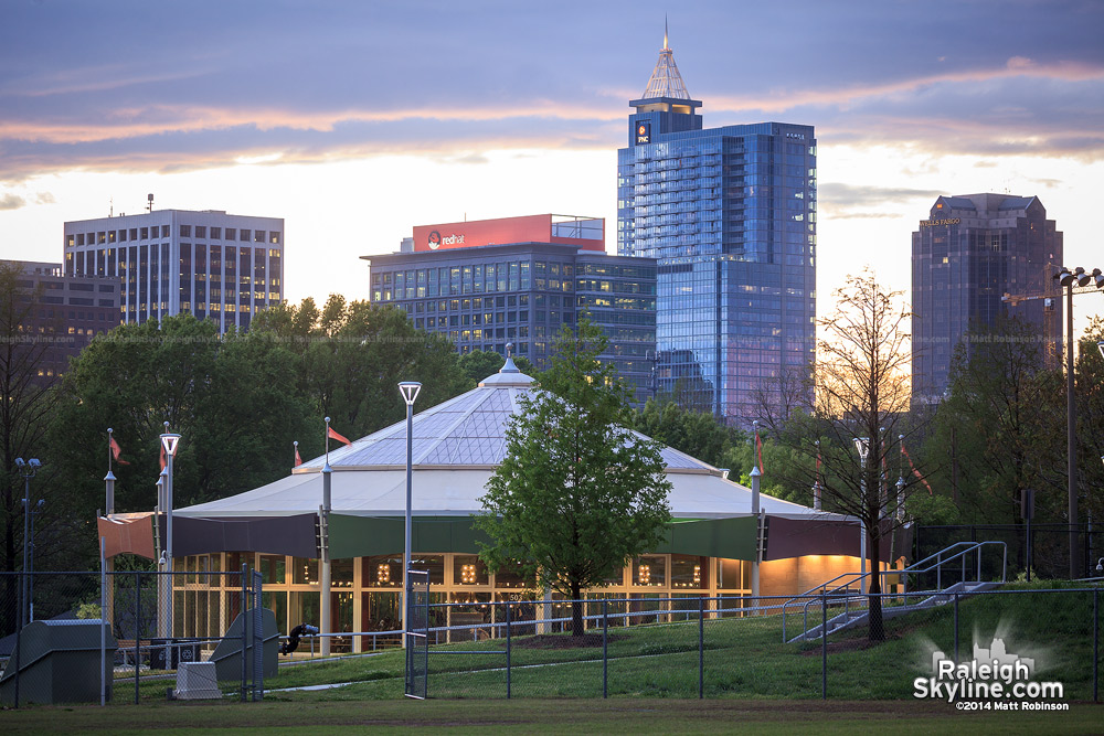 Chavis Park Carousel evening skyline