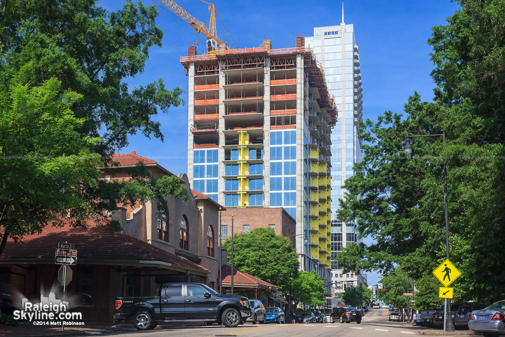 Morning view of Skyhouse Condos between Moore Square and City Market