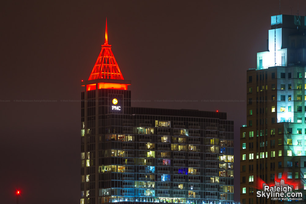 Red spire atop PNC Plaza
