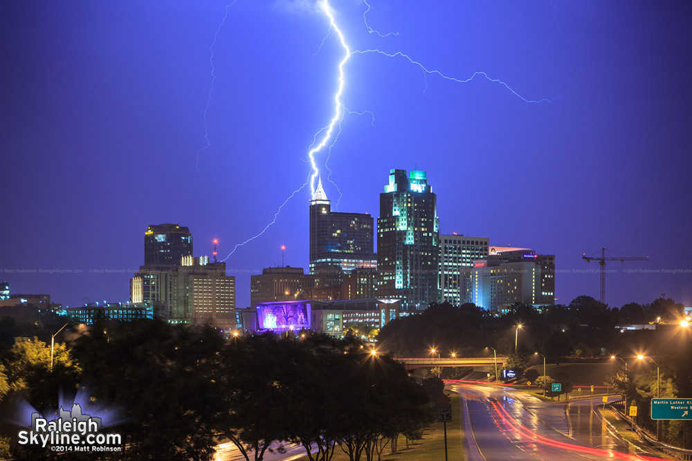 Lightning over the skyline of Raleigh, North Carolina