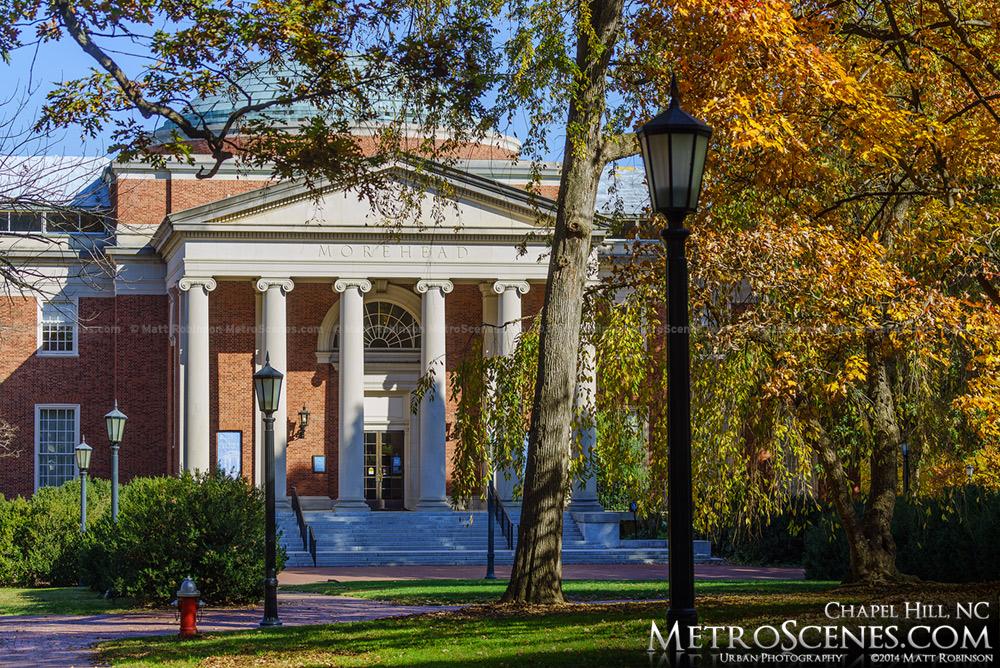 Morehead Planetarium with fall colors