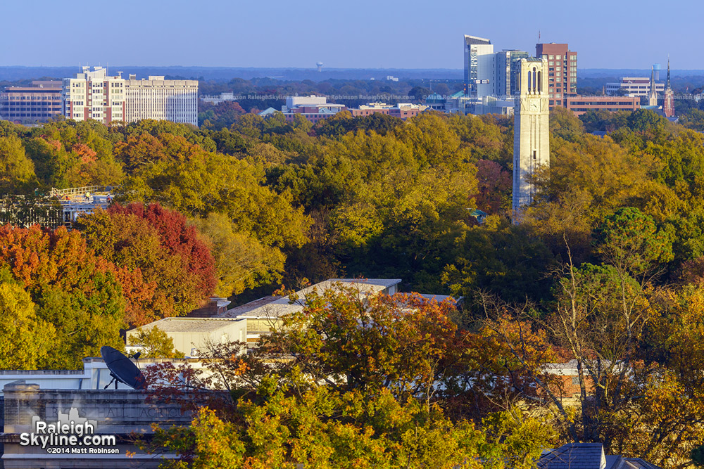 NCSU Bell Tower rises above fall foliage