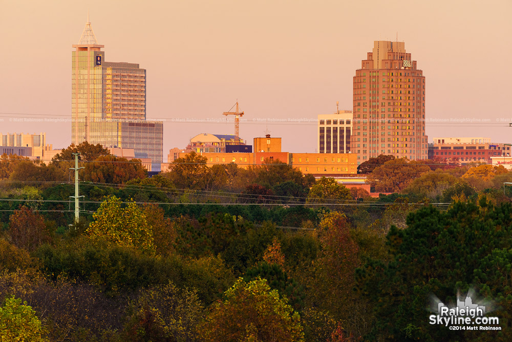 Lonnie Pool Golf Course view of Downtown Raleigh in the Fall