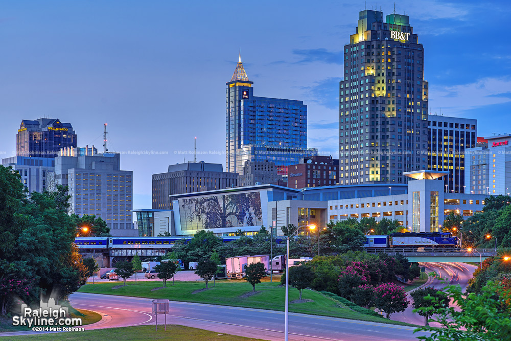Raleigh skyline at dusk