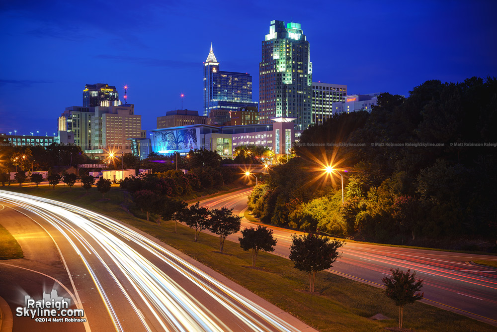 Raleigh skyline from Western Boulevard overpass 2014