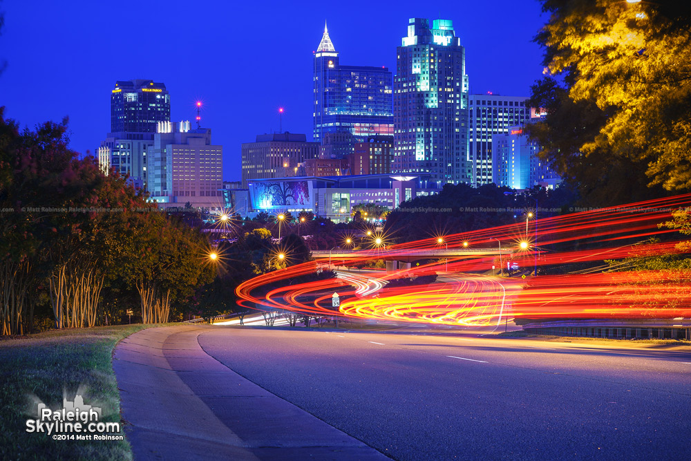 City of Raleigh at night