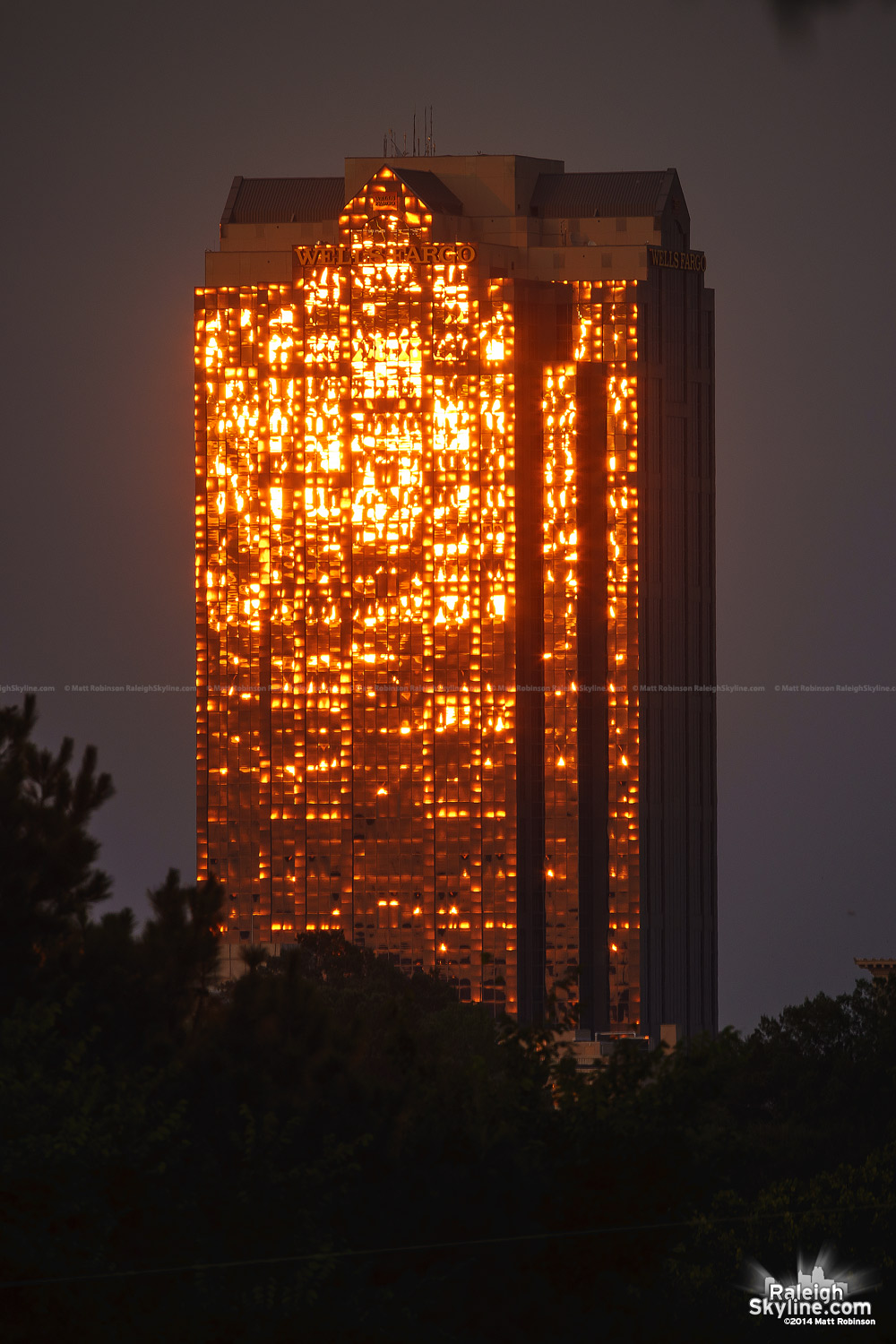 Sun reflections on Well Fargo Capitol Center