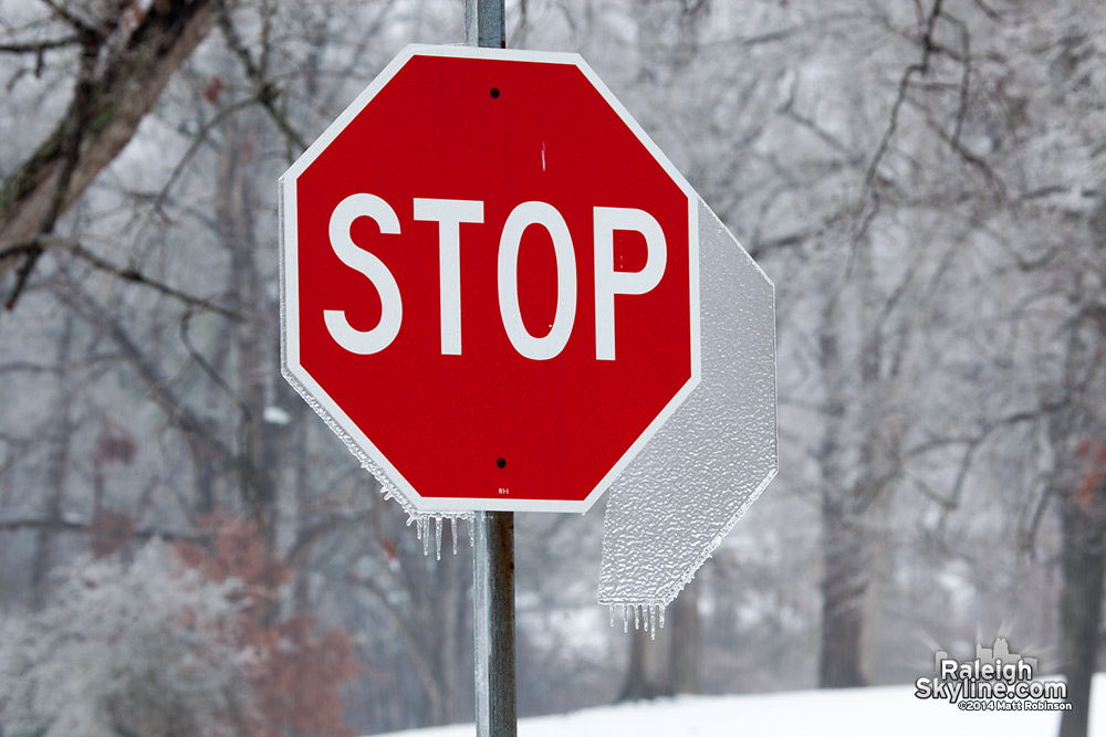 Stop sign with hexagonal ice formation
