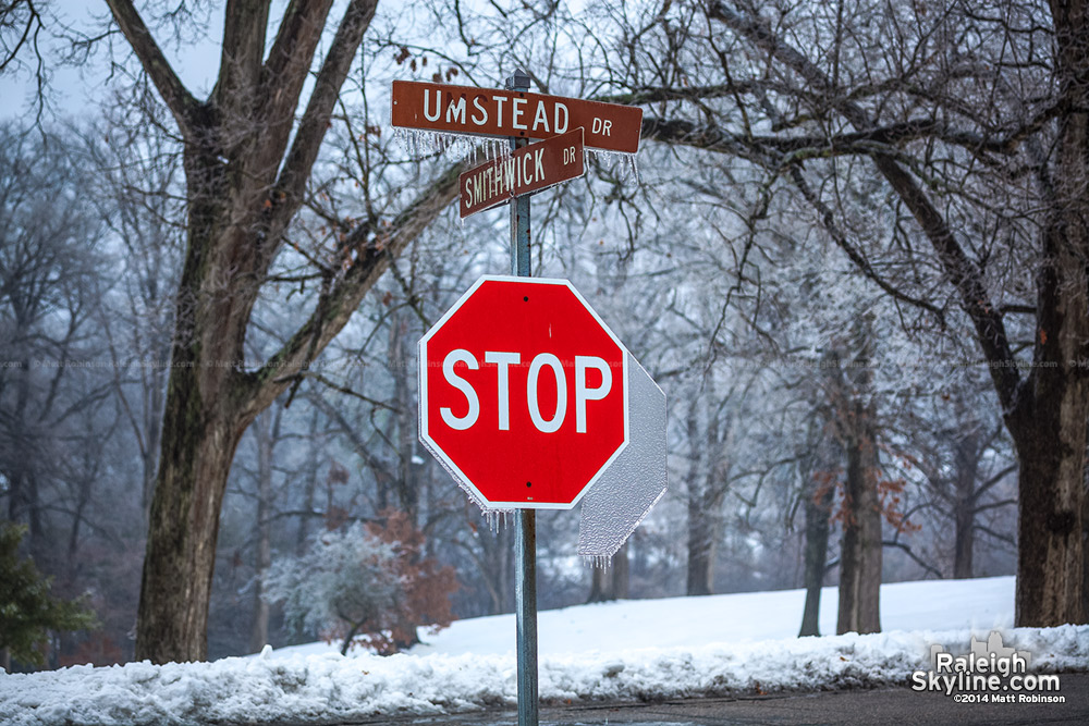 Ice covered stop sign and street signs at Dorothea Dix