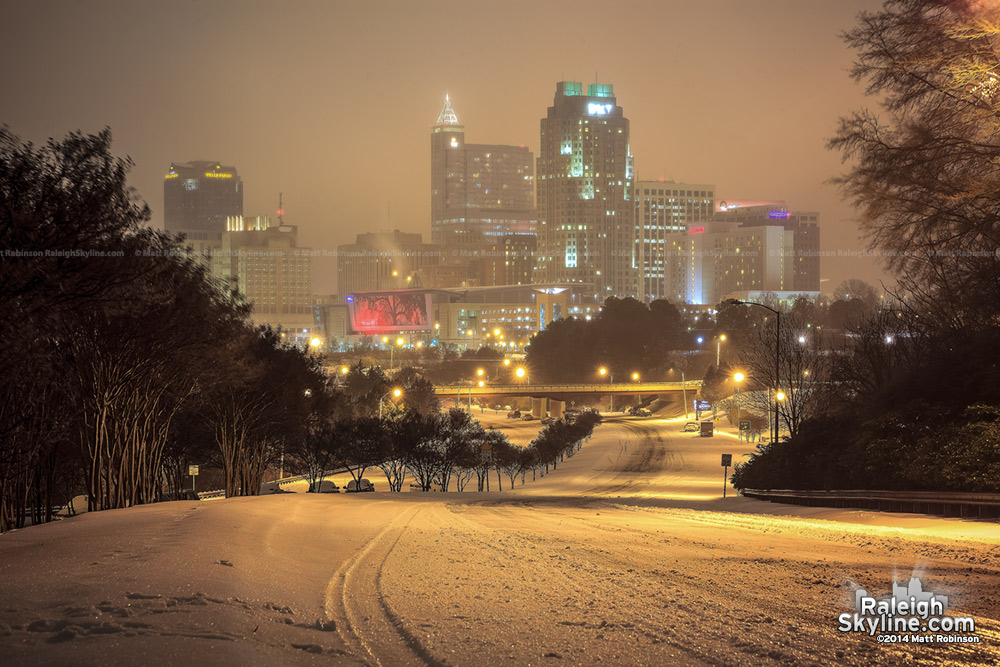 Downtown Raleigh after snow and ice at night