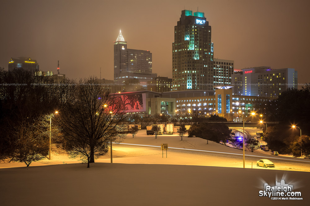 Downtown Raleigh Skyline at night with snow