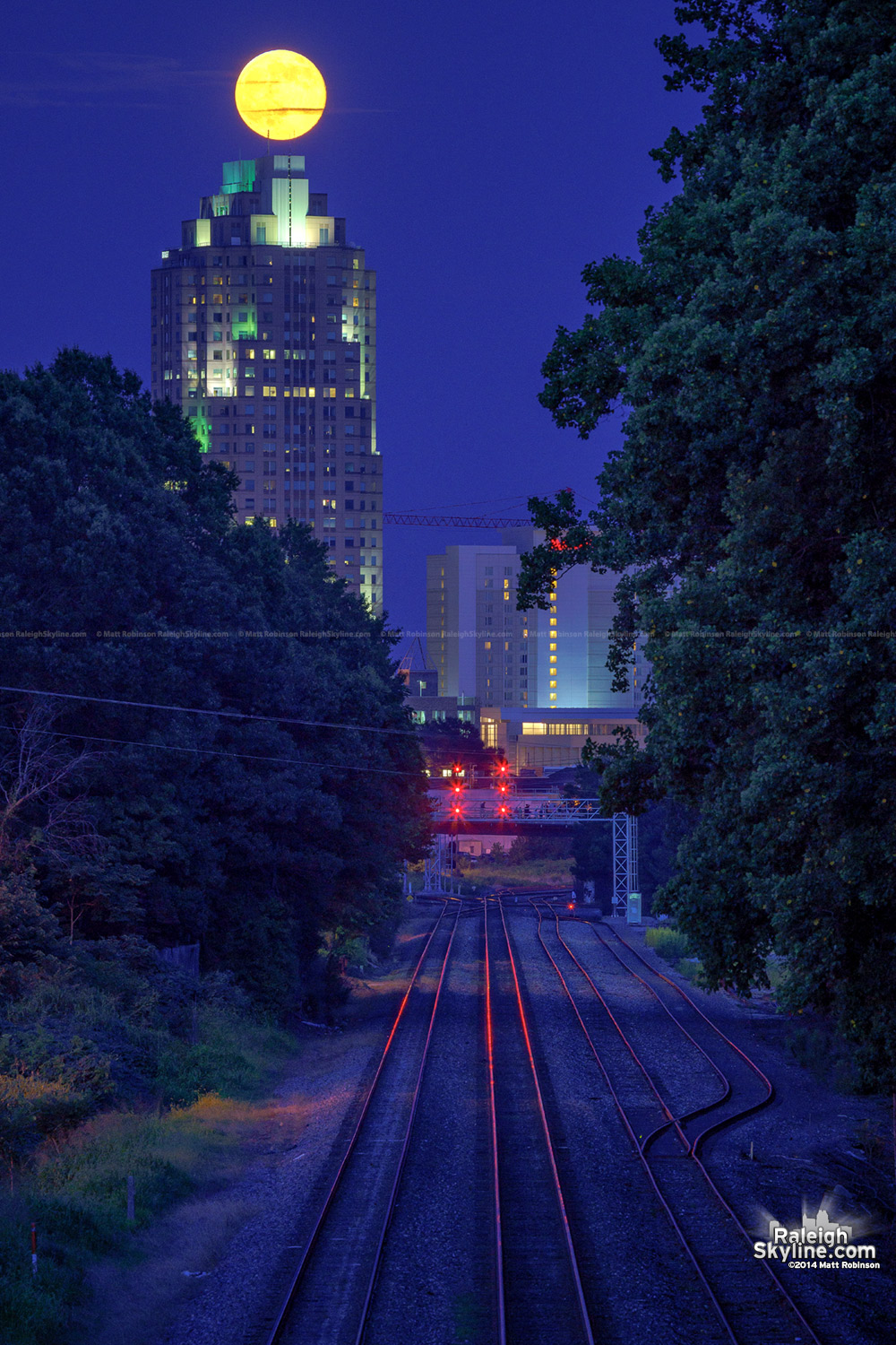 Supermoon rise over Railroad tracks