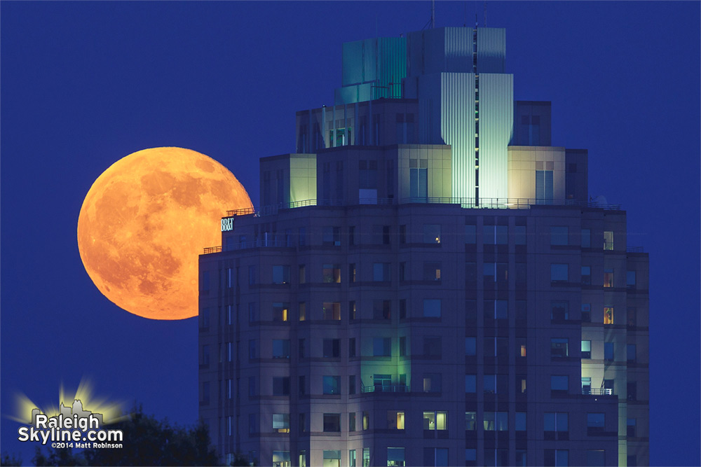 Supermoon behind BB&T Building in Raleigh