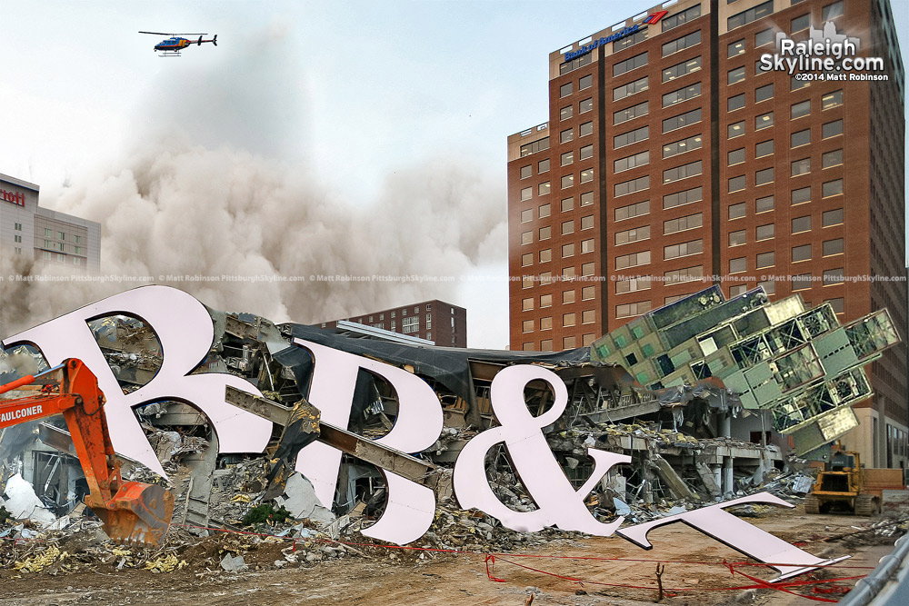 Raleigh's demolished BB&T Building, making way for a Publix Grocery Store