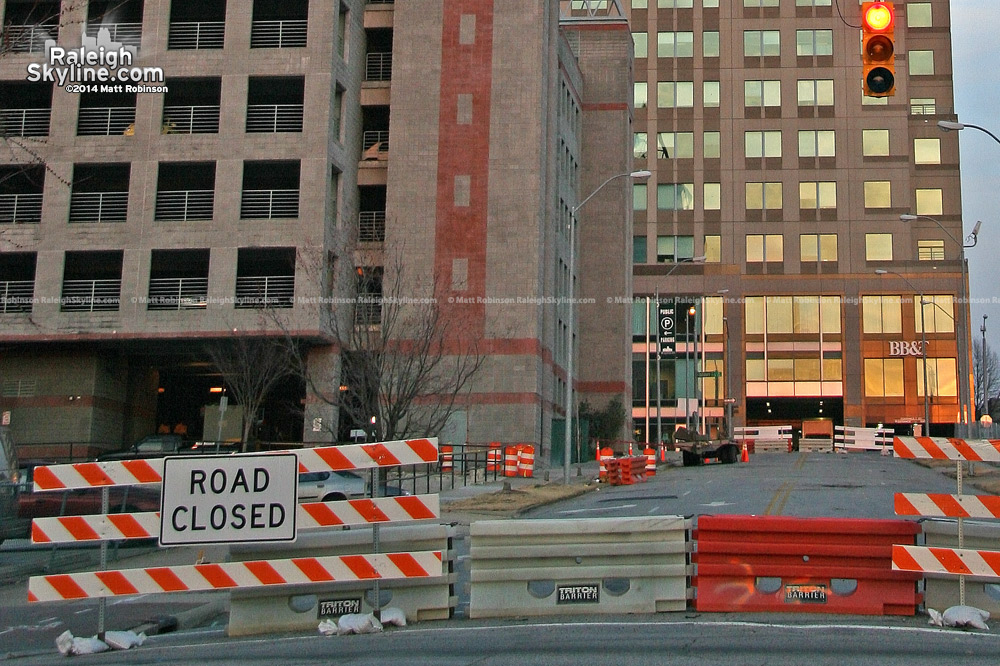 Downtown Raleigh streets were barricaded in a several block radius