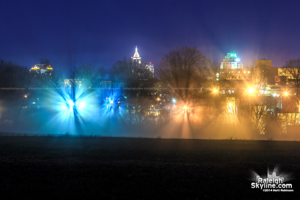 Raleigh Skyline with fog bursts at night