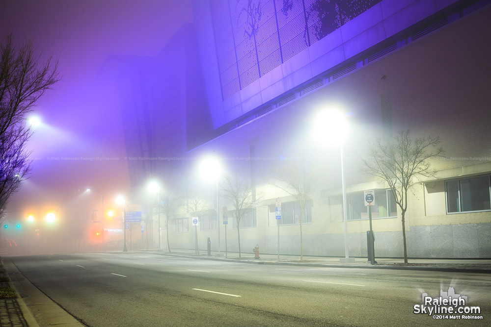 Purple fog at the Raleigh Convention Center Shimmer Wall