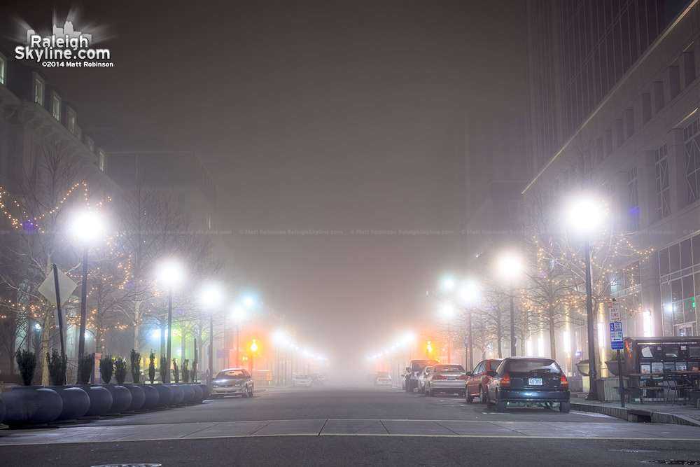 Nighttime fog on Fayetteville Street Raleigh