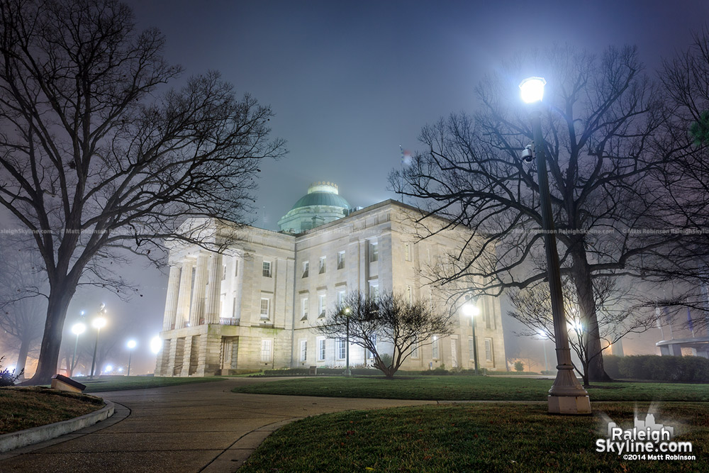 North Carolina State Capitol Building on a foggy night