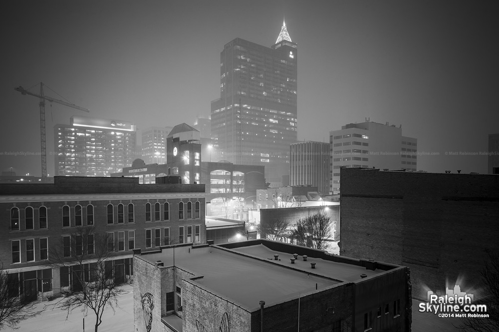 Black and white snowy city at night, Raleigh