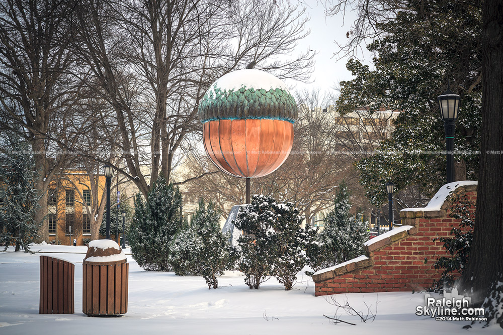 Giant Acorn in Moore Square with snow