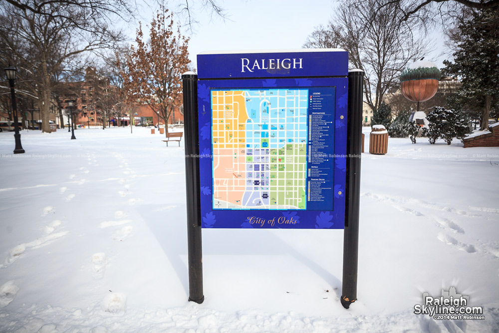 Raleigh Map in the snow