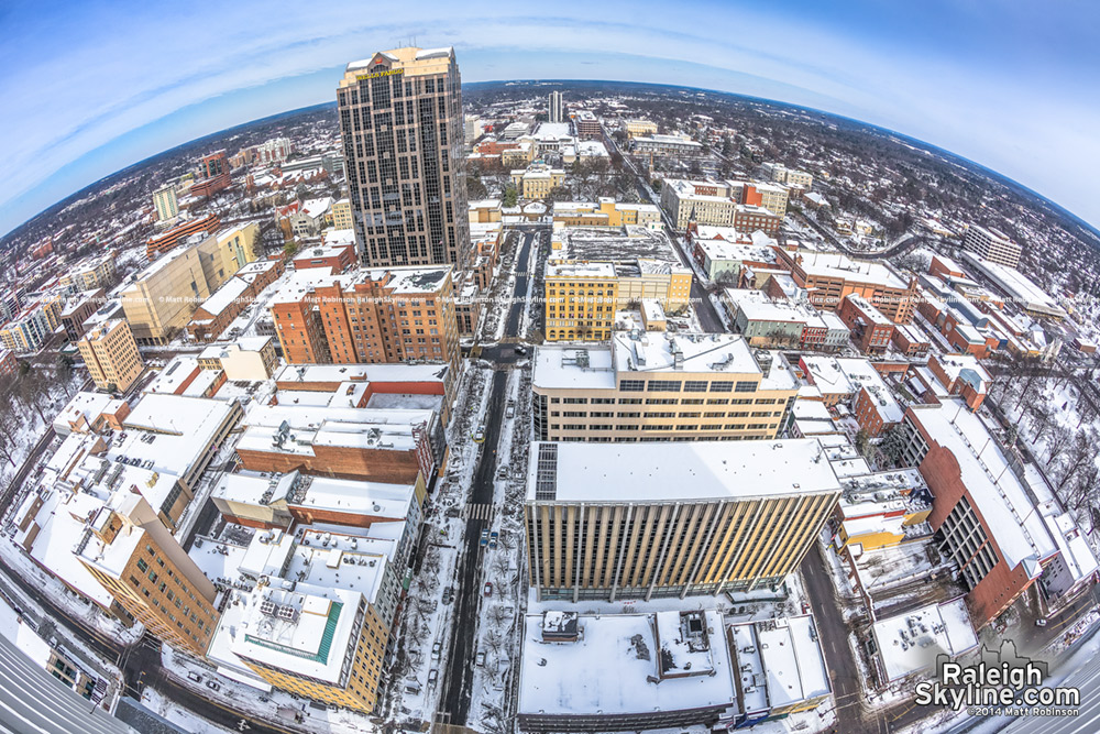 Fisheye of snow-cover over downtown Raleigh
