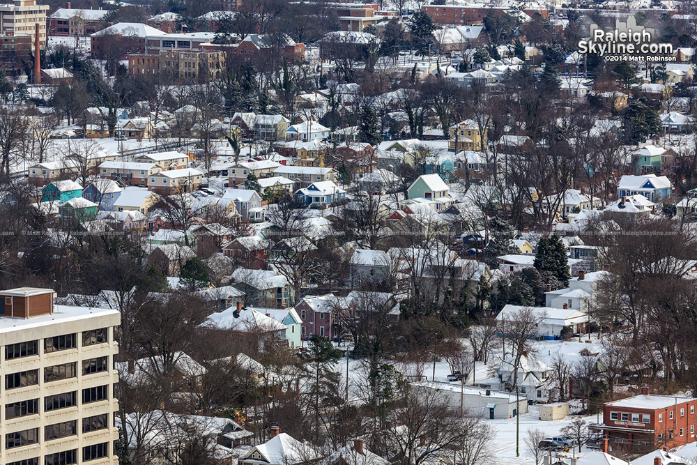 Raleigh's Oakwood neighborhood in the snow