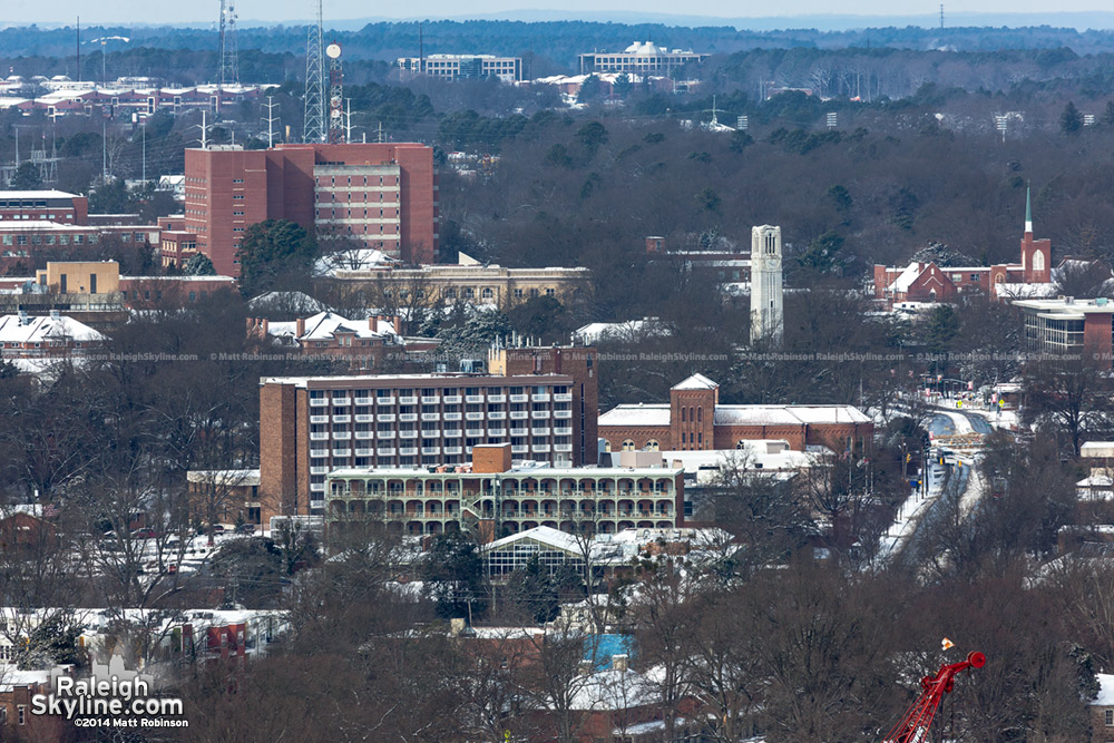NC State from PNC Plaza in the snow