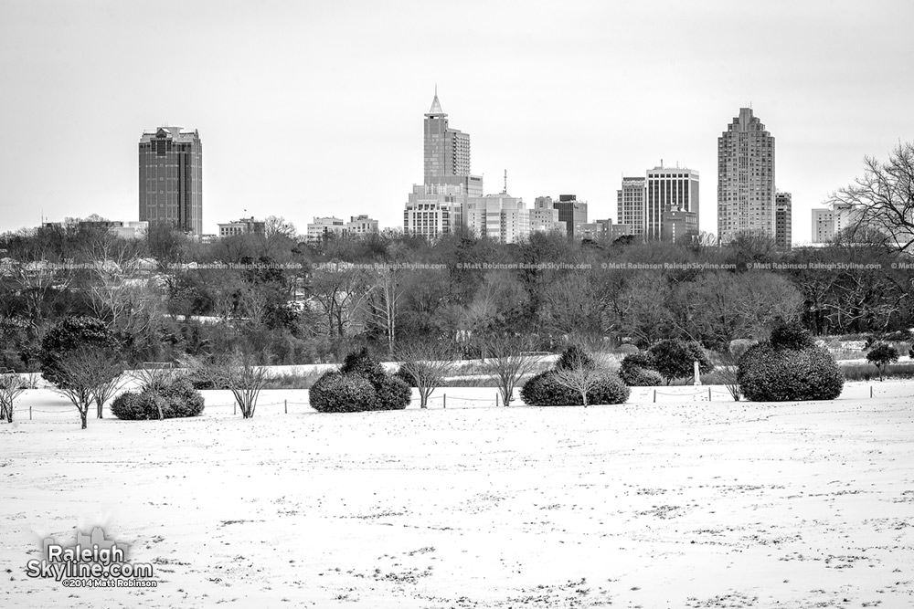 Snow covered Black and White Raleigh skyline