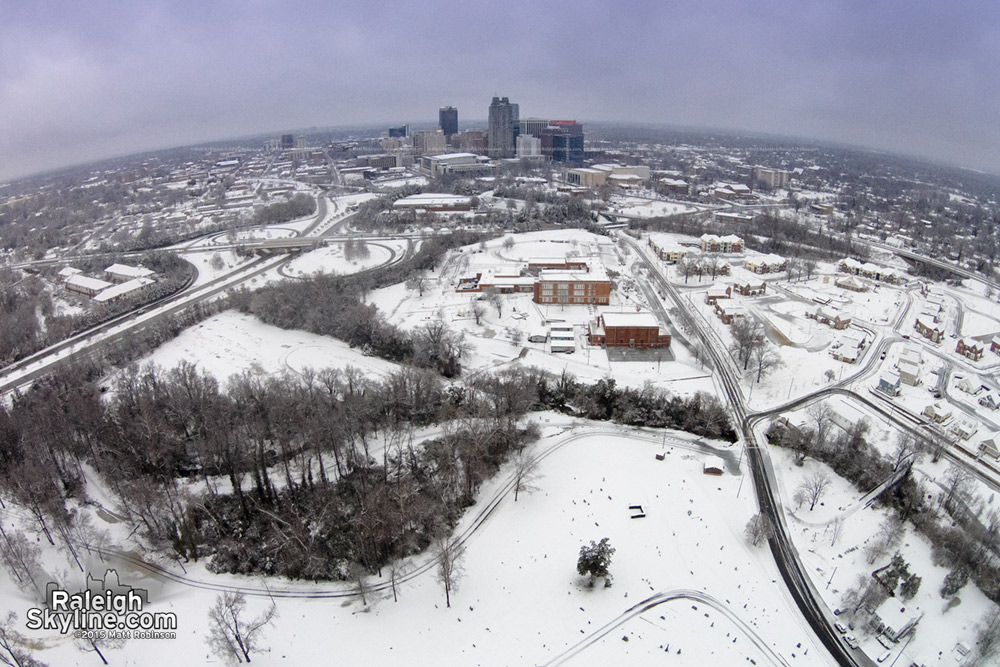 Aerial south of downtown Raleigh in the snow