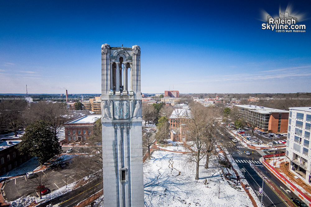 Aerial of the NC State Bell tower