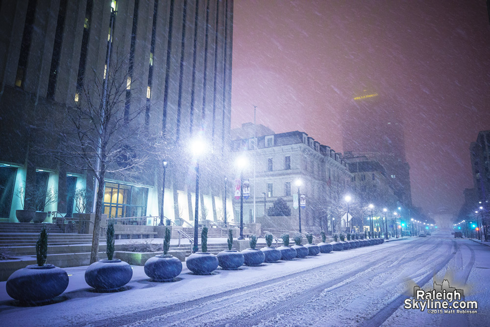 Fayetteville Street during heavy snow
