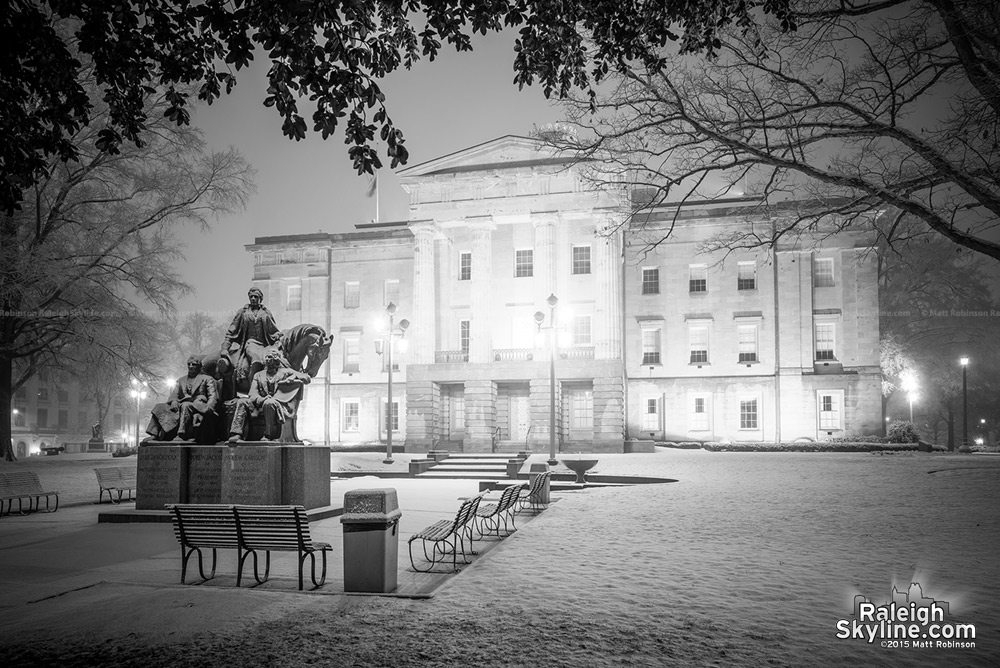 Black and white North Carolina State Capitol in the snow