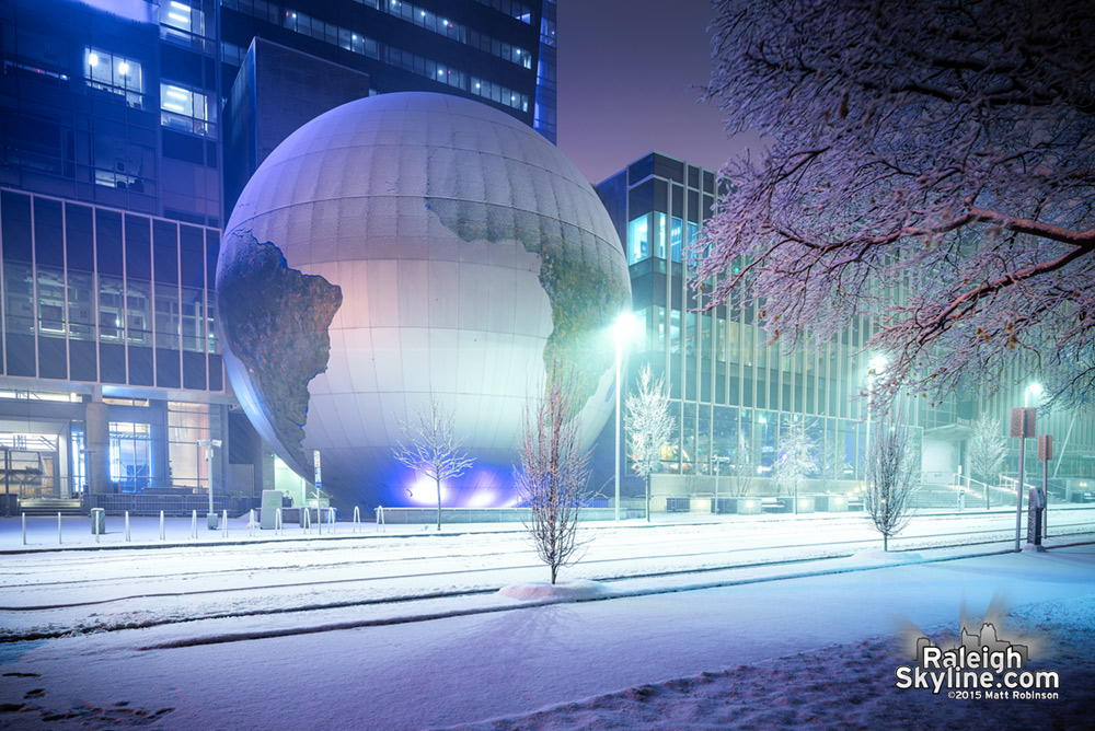 Nature Research Center Daily Planet covered with snow